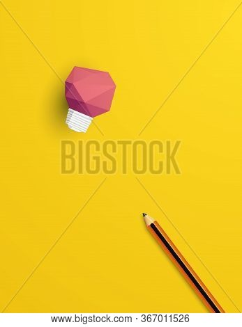 Creativity Vector Concept With And Pencil In 3d Polygonal Design. Symbol Of Innovation, Invention.