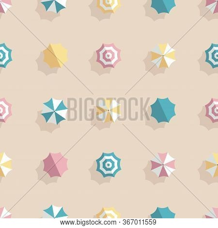Summer Beach Umbrella Vector Seamless Pattern. Holiday, Vacation And Recreation Background.