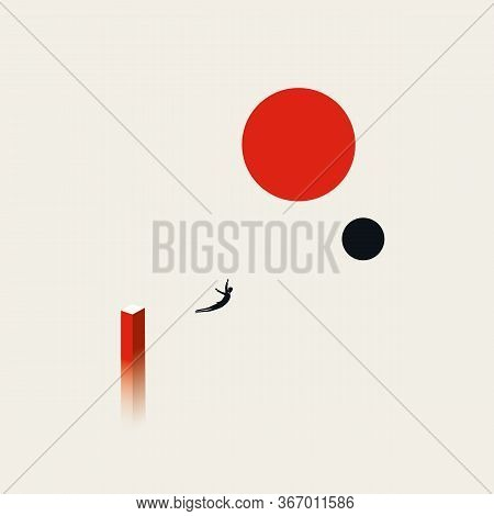 Business Risk, Bravery, Courage And Ambition Vector Concept With Businessman Jumping Into Space.