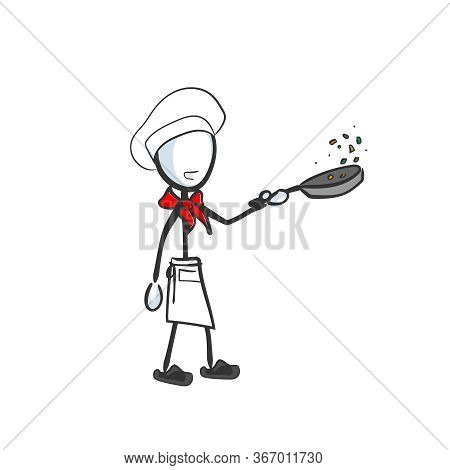 Chef Cooks. Restaurant Food. Professional Cook. Hand Drawn. Stickman Cartoon. Doodle Sketch, Vector