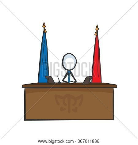 Presindent Table With Flags. Candidate Campaign. Democracy Ruler. Hand Drawn. Stickman Cartoon. Dood