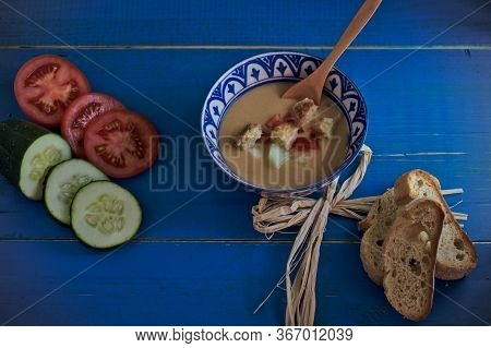 Andalusian Gazpacho, Tomato Soup With Cucumber, Green Pepper, Garlic, Bread And Other Ingredients. I