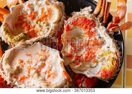 Steamed Black Crab Or Serrated Mud Crab On Plate
