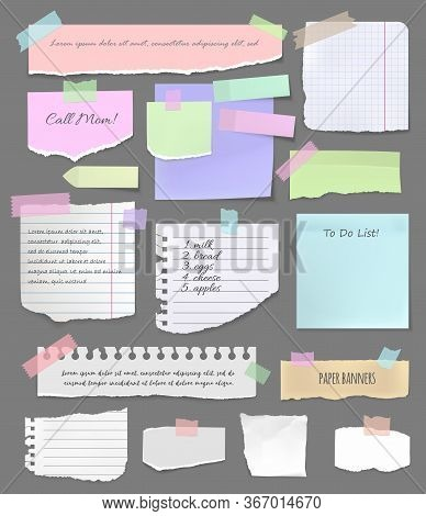 Torn Paper Pieces, Notebook Sheets And Scrapbooking Vector Elements. Colorful Paper Sticker On Board