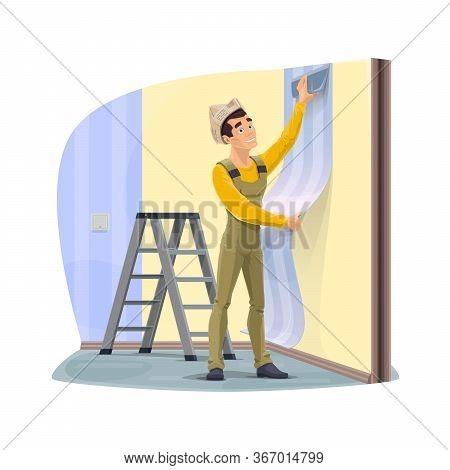 Worker Gluing A Wallpaper, Home Renovation. Wallpaper Stickman Wallpaper On Wall With Scraper In Apa