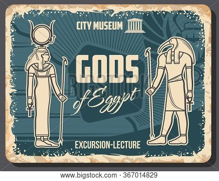 Egypt Gods Thoth Deity And Hathor Goddess Vector Retro Poster. Excursion Lecture, Vintage Ancient Eg