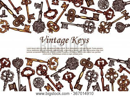 Vintage Keys Vector Sketch, Skeleton Medieval Metal Door Keys Decorated With Ornamental Forged Eleme