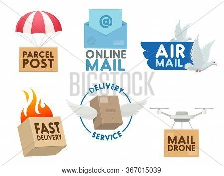 Post Mail Service Isolated Vector Icons. Mailbox, Letter Envelope, Burning Parcel Box Fast Delivery.
