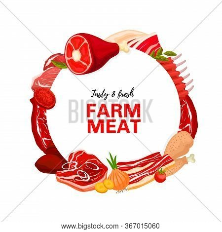 Meat Products, Butcher Shop Round Vector Frame. Cattle And Poultry Farm Meat. Pig Leg, Pork Ribs, Ba
