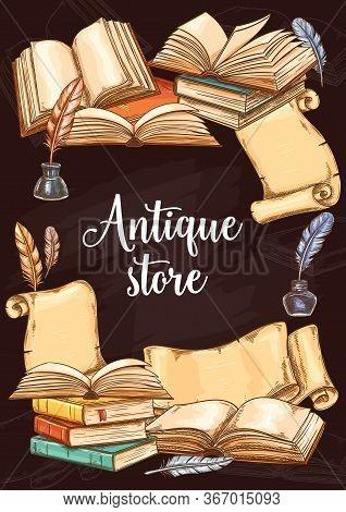 Antique Books Shop, Vintage Vector Sketch Poster. Fair Or Bookshop Literature Festival, Rare And Old