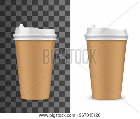 Carton Coffee Cup, Disposable Paper Container With Plastic Lid, Isolated 3d Vector Mockup. Blank Bro