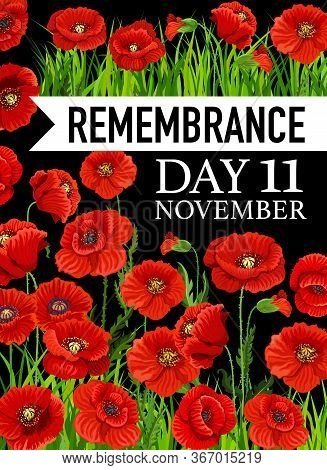Remembrance Day Poster, 11 November Vector Greeting Card With Poppy Flowers On Black Background. Pop