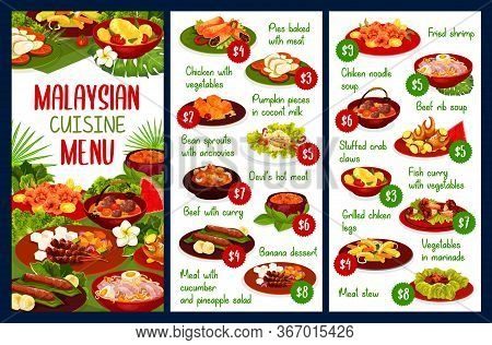 Malaysian Cuisine Restaurant Menu Vector Template. Asian Cuisine Meals With Beef, Chicken Meat, Fish