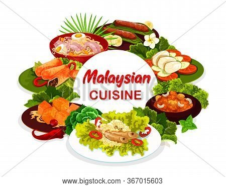 Malaysian Cuisine Round Vector Banner. Baked Meat Pies And Banana Dessert, Devils Hot Meat, Pumpkin