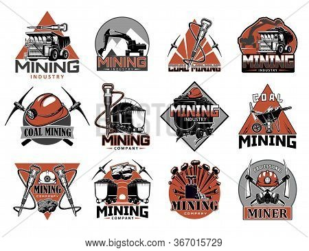 Coal Mining Industry Isolated Vector Icons Set. Miners Equipment For Coal Extraction, Work Tools, Ma