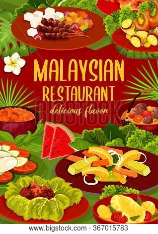 Malaysian Cuisine Restaurant Dishes Vector Menu. Meat Stew, Fish Curry And Marinaded Vegetables, Bee