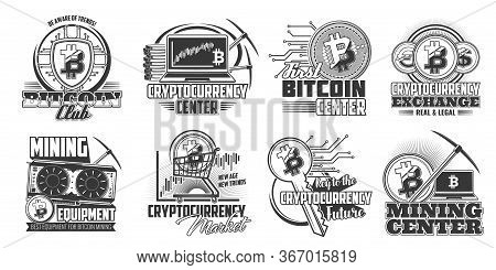 Bitcoin Cryptocurrency Mining Vector Icons. Monochrome Digital Trade Service Center, Currency And Ex