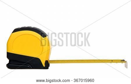 One Yellow And Black Tape Measure With Tape Extended 6 Inches, Isolated On White Background. Common