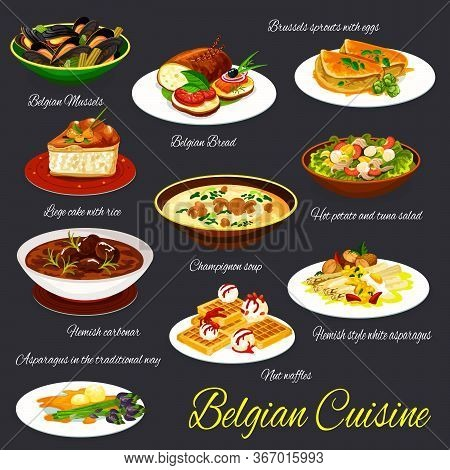 Belgian Cuisine Restaurant Dishes Vector Set. Brussels Spouts With Eggs, Potato And Tuna Salad, Flem