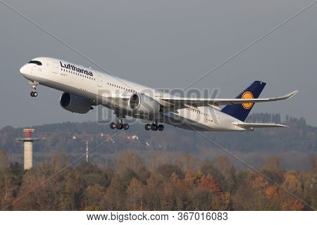 Munich / Germany - October 18, 2017: Lufthansa Airbus A350-900 D-aixc Passenger Plane Departure At M