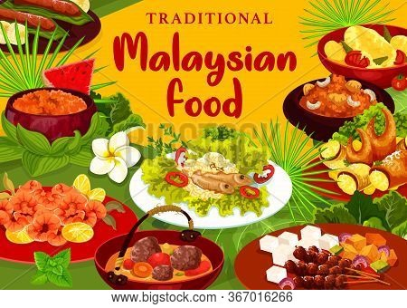 Malaysian Cuisine Menu Vector Cover. Beef Rib Soup And Fried Shrimps, Bean Sprouts With Anchovies, F