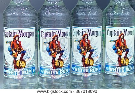 Tyumen, Russia-may 17, 2020: Captain Morgan Is A Brand Of Rum Produced By Diageo, British Multinatio