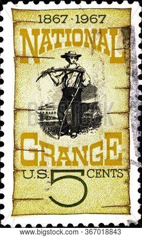 02 08 2020 Divnoe Stavropol Territory Russia Postage Stamp Usa 1967 National Grange Centenary Grange