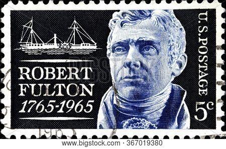 02.11.2020 Divnoe Stavropol Territory Russia Postage Stamp United States 1965 Robert Fulton 1765-196