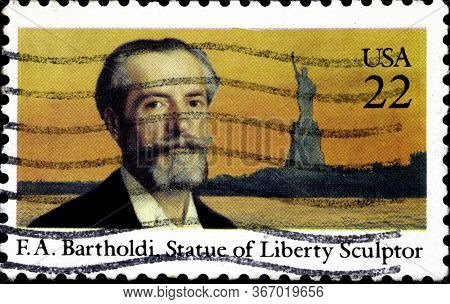 02 11 2020 Divnoe Stavropol Territory Russia Postage Stamp Usa 1985 F. A. Bartholdi, Statue Of Liber