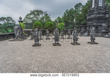 Hue City, Viet Nam: Statues At Khai Dinh Tomb Emperor In Hue, Vietnam. A Unesco World Heritage Site.