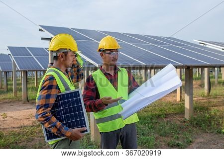 The Engineering Team Is Checking The Blueprints For Fixing Or Repairing Solar Panels And Other Analy