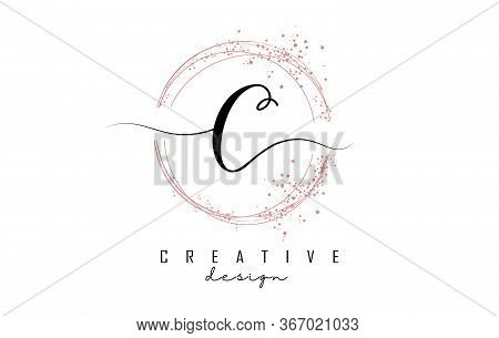 Sparkling Circles And Dust Pink Glitter Frame For Handwritten C Letter Logo. Shiny Rounded Vector Il