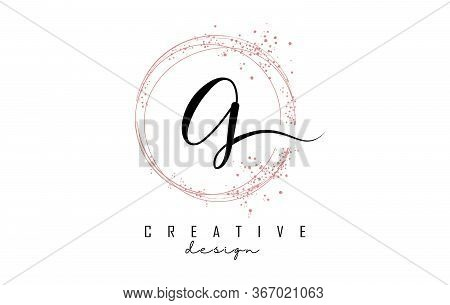 Sparkling Circles And Dust Pink Glitter Frame For Handwritten G Letter Logo. Shiny Rounded Vector Il