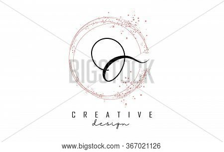 Sparkling Circles And Dust Pink Glitter Frame For Handwritten O Letter Logo. Shiny Rounded Vector Il