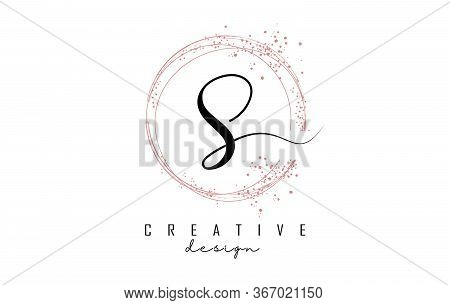Sparkling Circles And Dust Pink Glitter Frame For Handwritten S Letter Logo. Shiny Rounded Vector Il
