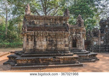 Ancient Angkor Wat Ruins Panorama. Thommanon Temple. Siem Reap, Cambodia