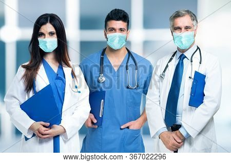 Group of masked doctors during coronavirus pandemic