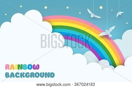 Layered Blue Sky Background With A Rainbow, Clouds, Flying Birds, Stars. Minimal Scenery Background