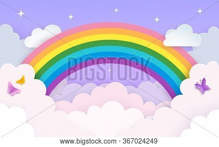 Soft Pink And Purple Sky Background With Rainbow, Clouds, Stars And Butterflies. Minimal Backdrop In