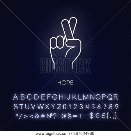 Hope Neon Light Icon. Crossed Fingers For Luck. Optimistic Outlook. Positive Mental Attitude. Outer