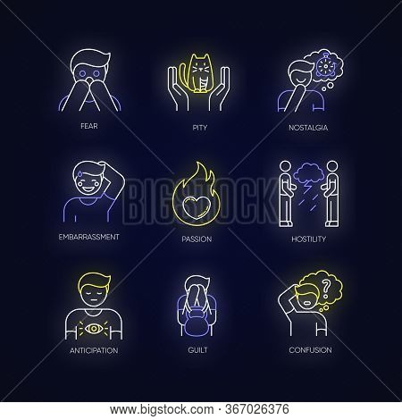 Emotion Neon Light Icons Set. Fear From Phobia. Human Feelings. Mental State. Negative Behaviour. Pa