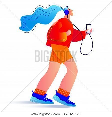 Jogging Young Happy Woman. Vector Modern Trendy Illustration In Flat Style And Bright Modern Colors.