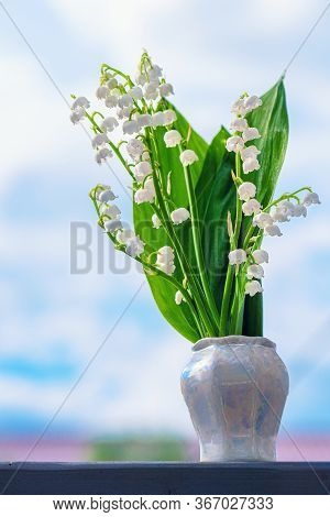 Flower Spring Lily Of The Valley Background Vertical Close-up. Lily Of The Valley. Floral Spring Bac