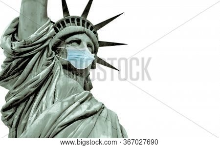 Statue of liberty corona virus concept with Statue of liberty with face mask