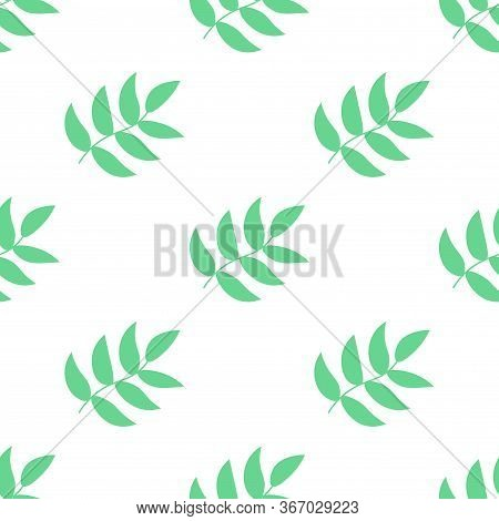 Colorful Seamless Pattern With Leaves, Branches In Flat Childlike Style Background. Floral Motif. Ve