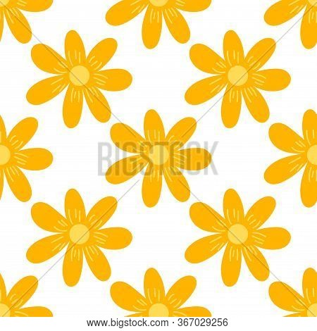 Cute Cartoon Polka Dot Flowers In Flat Style Seamless Pattern. Floral Childlike Style Background. Ve
