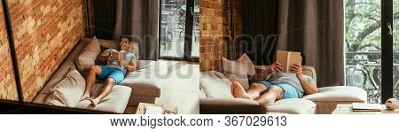 Collage With Mixed Race Man Reading Book While Chilling On Sofa During Self Isolation, Horizontal Co