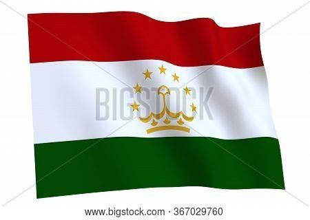 Tajikistan Flag, 3d Render. Flag Of Tajikistan Waving In The Wind, Isolated On White Background.