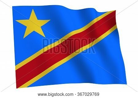Congo Flag, 3d Render. Flag Of Congo Waving In The Wind, Isolated On White Background.