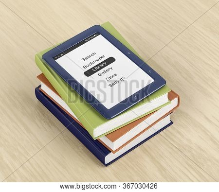 Colorful Books And E-book Reader On Wooden Table, 3d Illustration